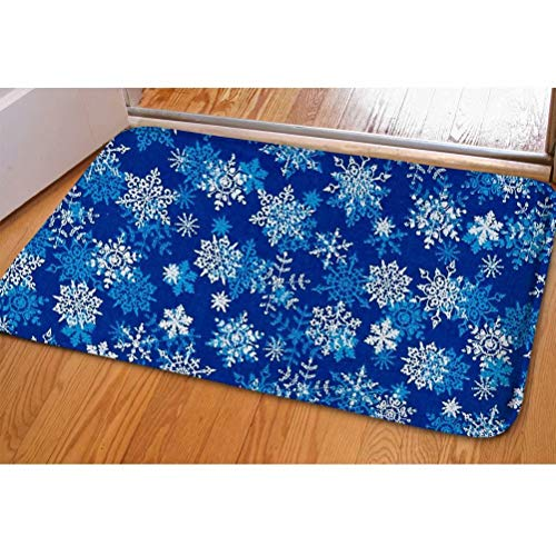 (Dellukee Christmas Doormats Blue Snowflakes Pattern Indoor Outdoor Funny Non Slip Durable Washable Home Decorative Door Mats Bath Rugs for Entrance Bedroom Bathroom Kitchen, 23 x 16)