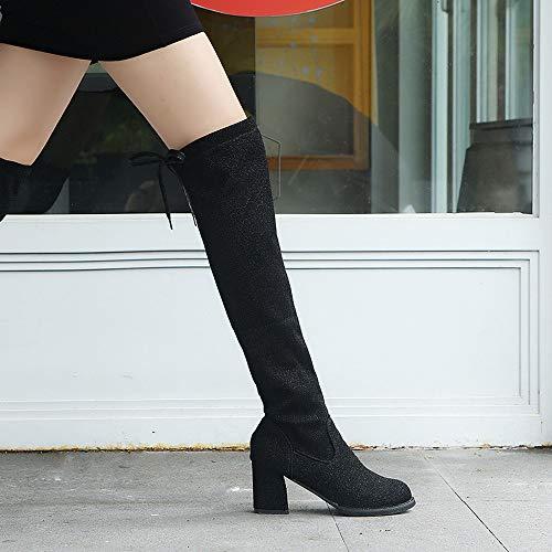 tacchi da inverno alto alti Nero scarpe con lustrino autunno paillettes tacco stivali Vovotrade stivali sopra donna con il il Martin con stivali alti e ginocchio BSCOyzORqZ