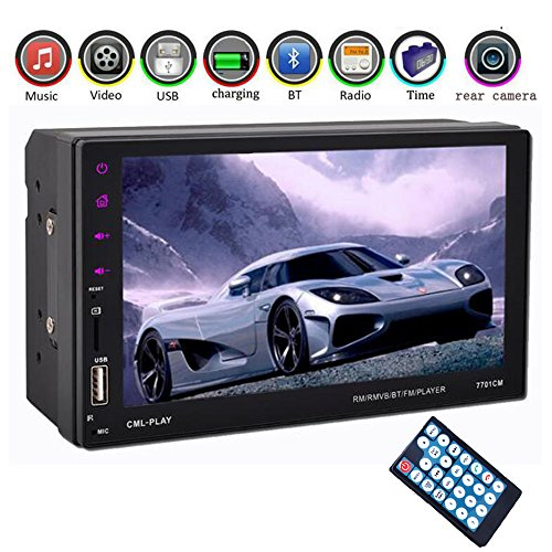 Eaglerich Car radio 2 din 7'' Touch Screen Car MP5 MP4 Bluetooth hands free FM/TF/USB For Android Phone Mirror Link 12v by Eaglerich