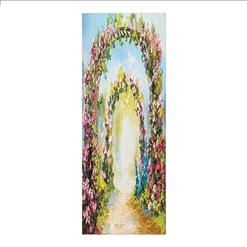 3D Decorative Film Privacy Window Film No Glue,Country,Colorful Floral Arch in The Summer Park Romantic Feminine Boho Paint Style Print Decorative,Multicolor,for Home&Office