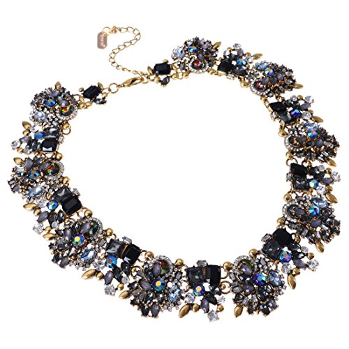 Jerollin Crystal Statement Necklace (Earrings Set), Vintage Chunky Chain Choker Bib Statement Necklace Fashion Costume Jewelry Necklaces (Set) for Women