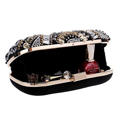 Main Classique Perlé Main Black Pochette Clutches Soirée Dames Sac à Party Prom Robe Sac GODW à Mariage wq1ZIxC