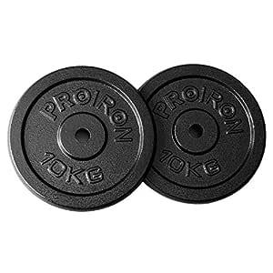 PROIRON Pesas de Disco 2 x 10kg Hierro Fundido Discos de Pesa para ...