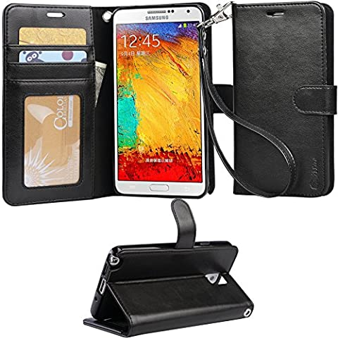 ARAE Samsung Galaxy Note 3 wallet Case with Kickstand and Flip cover, Black (Galaxy Note 3 Phone Case Black)