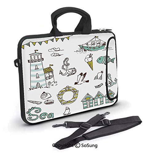 10 inch Laptop Case,Marine Elements Fish Lighthouse Anchor Vessel Swimsuit Gulls Lifebuoy Print Neoprene Laptop Shoulder Bag Sleeve Case with Handle and Carrying & External Side Pocket,for Netbook/Mac
