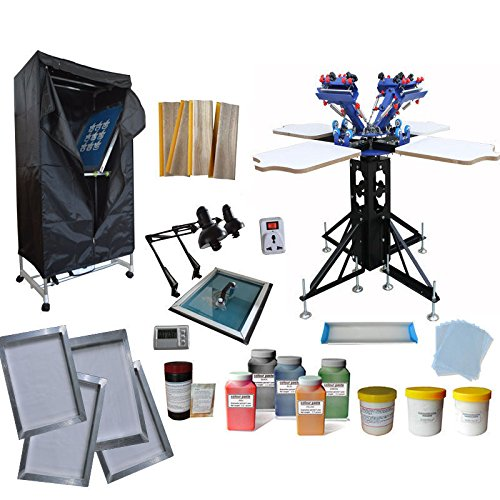 TECHTONGDA 4 Color 4 Station Screen Printing Kit 4 Color Screen Printing Press Kit T-Shirt Printing