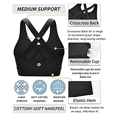 RUNNING GIRL Sports Bra for Women, Criss-Cross Back Padded Strappy Sports Bras Medium Support Yoga Bra with Removable Cups at Women's Clothing store
