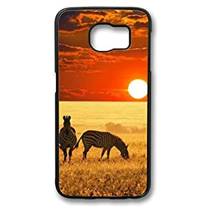 iCustomonline Case for Samsung galaxy S6 PC, Sunset In South Africa Plastic Premium Clear Colorful Ultimate Protection Protector Hard Ultra Flexible Case for Samsung galaxy S6 PC Black