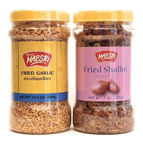 Maesri Fried Shallot & Fried Garlic Combo Pack | Ingredient & Garnish widely used in Asian Cooking | Fried Shallot 7 Ounce Jar | Fried Garlic 10.5 Once - Fried Garlic