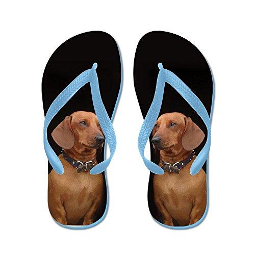 Cafepress Dachshund Dog - Chanclas, Sandalias Thong Divertidas, Sandalias De Playa Caribbean Blue