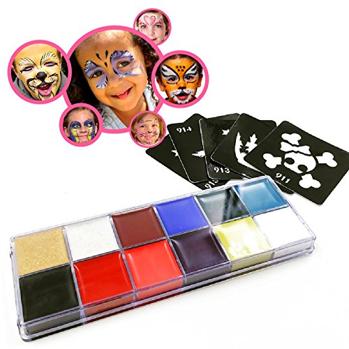 BEST FACE PAINT Kit for Kids. Top Quality Professional Party Palette: 12 Colors, Paper Guide. Safe Non-Toxic Oil-Based Skin (Halloween Face Paint Ideas For Adults)