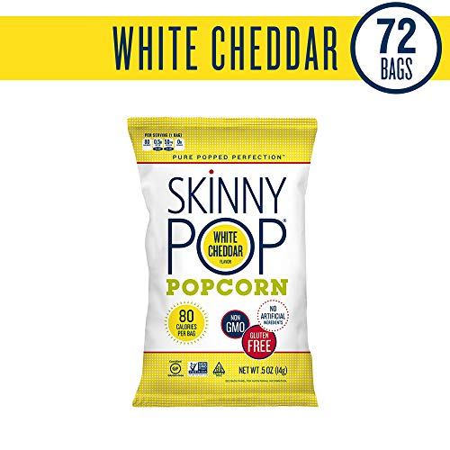 SKINNYPOP White Cheddar Popped Popcorn, Individual Bags, Gluten Free Popcorn, Non-GMO, No Artificial Ingredients, A Delicious Source of Fiber, 0.5 Ounce Pack of 72