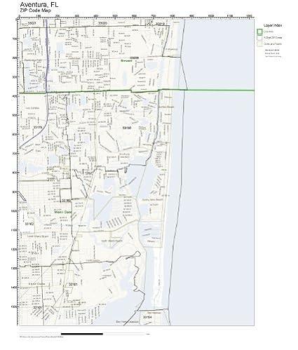 Aventura Florida Map.Amazon Com Zip Code Wall Map Of Aventura Fl Zip Code Map Not