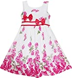 EY43 Girls Dress Rose Flower Double Bow Tie Party Summer Camp Size 7-8 Years