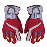 AONIJIE Children's Ski Gloves Waterproof Windproof Warm Lining Outdoor Sports Snow Gloves For 5-10 Years Old Boy &Girls-Red