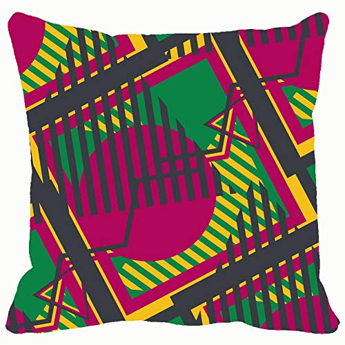 pop Art Colorful 70s Throw Pillows Covers Accent Home Sofa Cushion Cover Pillowcase Gift Decorative 18x18 inches]()