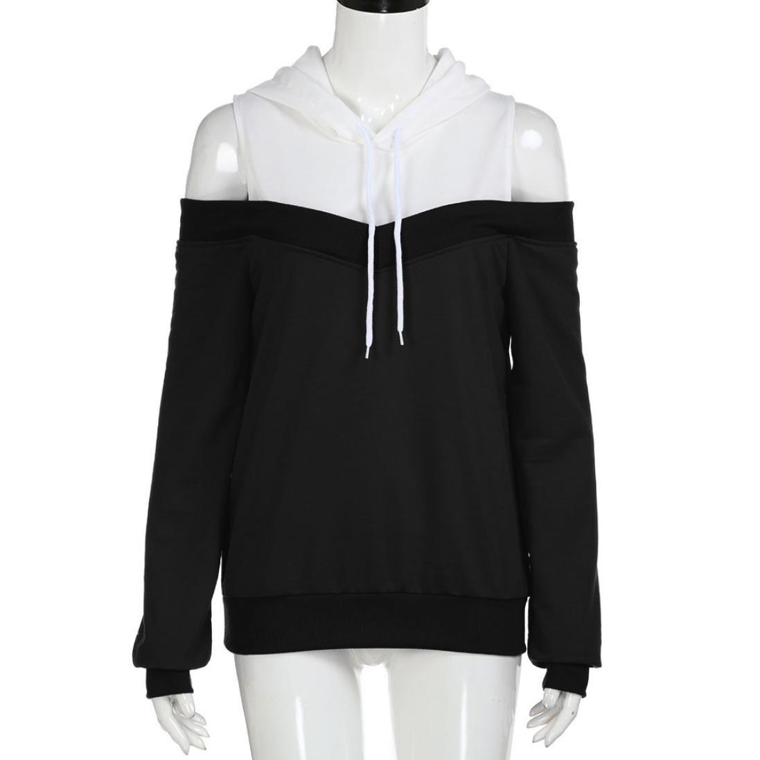 ESAILQ Damen Schulterfrei Langarm Hoodie Sweatshirt mit Kapuze Pullover Tops Bluse