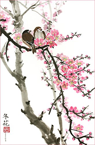 Love Birds on the Cherry Blossom Tree -- White Background, Giclee Print, Flower Picture of Two Birds Perching on a Branch, 13 X 20 Inches (2 Love Birds)
