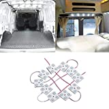 Justech 12V 40 LEDs Van Interior Light Kits 10 LEDs Modules Interior Car Lights Vehicle Dome Ceiling Lighting for Car/ Van/ Lwb/ Trailer/ Lorries Sprinter/ Ducato/ Transit/ VW/ Auto/ Truck/ Boats/ Caravans/ Trailers/ Trail/ HGV-White