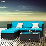 Peach Tree 5 PCs Outdoor Patio PE Rattan Wicker Sofa Sectional Furniture Set With 2 Pillows and Tea Table