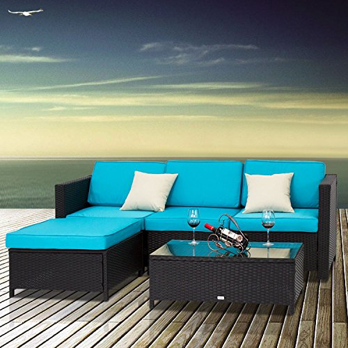 Rattan Sectional (Peach Tree 5 PCs Outdoor Patio PE Rattan Wicker Sofa Sectional Furniture Set With 2 Pillows and Tea Table)