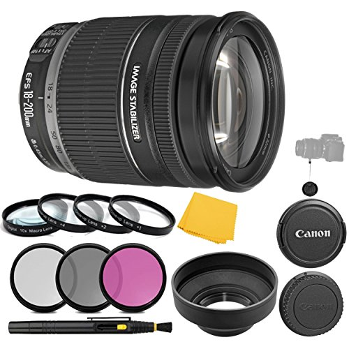 Canon EF-S 18-200mm f/3.5-5.6 is Lens + 3 Piece Filter Set +