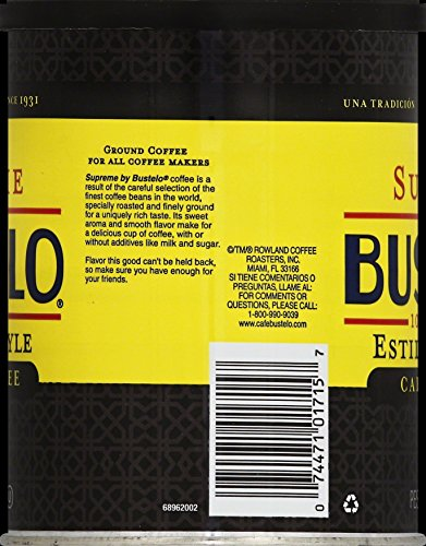 Amazon.com : Supreme By Cafe Bustelo, Espresso Style Coffee, Can, 10 Ounce (Pack of 12), Packaging May Vary. : Ground Coffee : Grocery & Gourmet Food