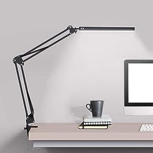 LED Desk lamp with clamp, Swing Arm Desk lamp, Adjustable Desk Light Eye-Care Table Light(3 Color Modes, 10-Level Dimmer, Eye Care) for Study, Reading, Home, Office, Dorms, Workshops, Studios