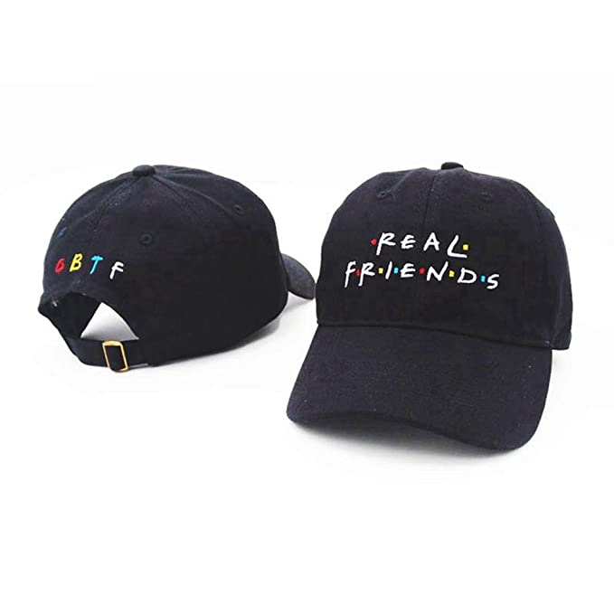 18cb5c42e1c Himozoo REAL FRIENDS Embroidered Cotton Adjustable Baseball Hat Hop-pop Cap  (Black) at Amazon Men s Clothing store
