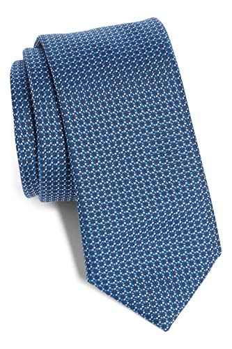 Hugo Boss Geometric Slim Woven Italian Silk Tie, Blue 50401305