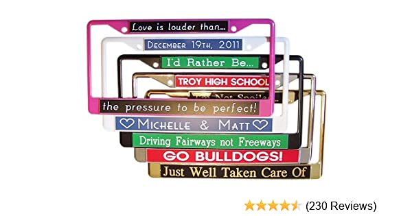 d733d93a Amazon.com: Custom License Plate Frame PERSONALIZE On Line Now ...