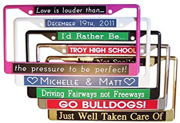 custom license plate frame personalize on line now