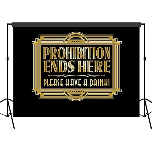 Musykrafties Roaring 1920s Gatsby Prohibition Ends Here Backdrop Photography Background Party Wall Photo Booth Props for Birthday Occasions Wedding Hen Parties 5x7 (1920 Backdrop)