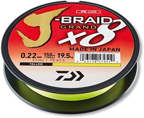 Daiwa J-Braid Grand 8 Braid 135 Metre Yellow Braided Fishing Line