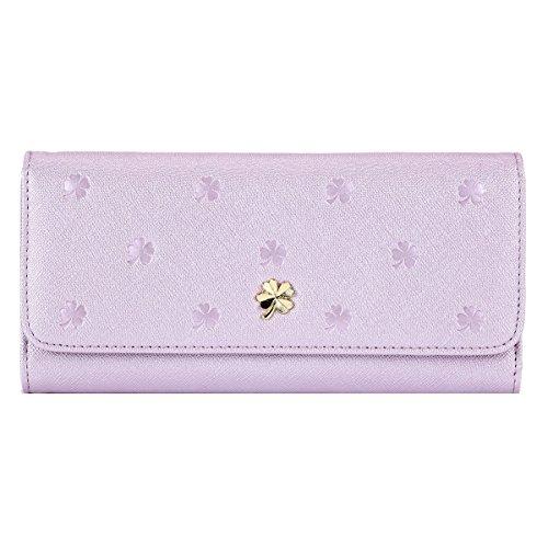 Damara Women Knurling Flap Faux Leather Trifold Clutch Wallet,Purple