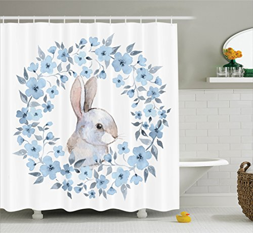 Flower Rug Cocoa (Bathroom Curtains Blue Watercolor Flower Decor Set By Ambesonne, Bunny Rabbit Portrait in Floral Wreath Illustration Country Style Theme, Shower Curtain Accessories, 69W X 70L Inches, Blue White Cocoa)