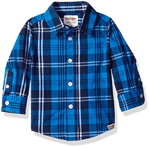 Woven Boys Shirt - Wrangler Authentics Boys' Long Sleeve Woven Shirt, Blue Plaid, 12 Months