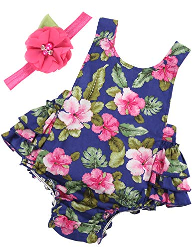 PrinceSasa Baby Girl Clothes Navy Floral Ruffles Summer Cake Smash Romper and Headband for Newborn Gifts,A22,0-6 Months(Size S) ()