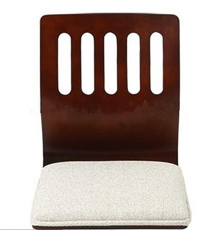 Floor Seating Living Room Furniture Walnut Finish White Cushion Japanese  Style Tatami Zaisu Legless Floor Chair