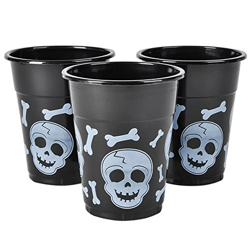 GiftExpress Pack of 50, Skull Disposable Cups, Black and White Skull and Cross Bones Pirate Plastic Cups, Halloween Party Cups, Halloween Party Supplies