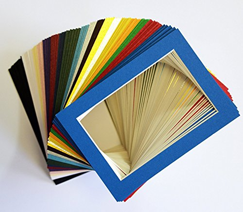 Pack of 100 sets of 5x7 MIXED COLORS Picture Mats Mattes Matting for 4x6 Photo + Backing + Bags by Unknown