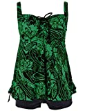 Septangle Women's Two Piece Paisley Print Padded Swimsuits with Boy Shorts (Green,US 22)