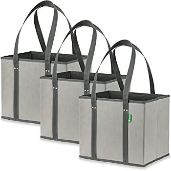 Reusable Grocery Shopping Box Bags (3 Pack - Grey) Premium Quality Heavy Duty Tote Bag Set with Extra Long Handles & Reinforced Bottom. Foldable, Collapsible, Durable & Eco Friendly