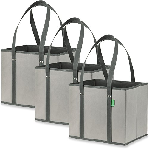 Reusable Grocery Shopping Box Bags (3 Pack - Grey) Premium Quality Heavy Duty Tote Bag Set with Extra Long Handles & Reinforced Bottom. Foldable, Collapsible, Durable & Eco (Heavyweight Plastic Bags)