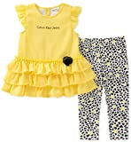 Calvin Klein Baby Girl's Tunic Legging Set Pants, Yellow/Print, 6/9M