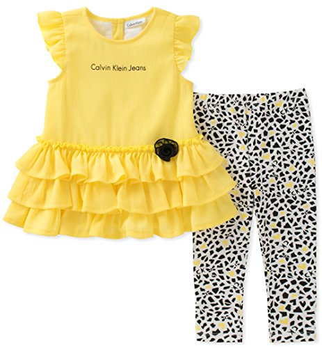 Calvin Klein Baby Girl's Tunic Legging Set Pants, Yellow/Print, 6/9M by Calvin Klein