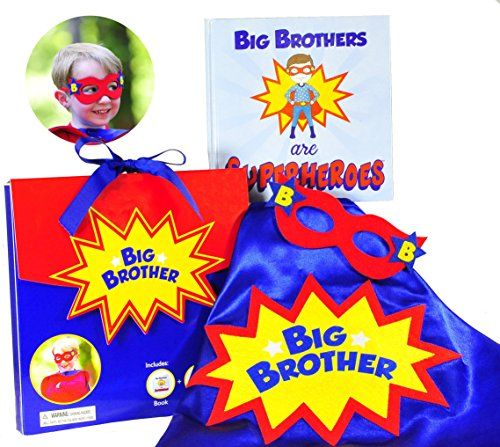 Tickle & Main - Big Brother Gift Set - 3 Piece Set Includes Big Brothers are Superheroes Book, Satin Cape, and -