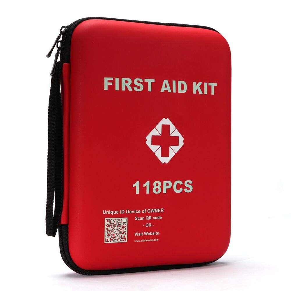 Qusouloutdoor First Aid Kit, First Aid Survival kit with GPS/AID QR Code,118 Pieces Emergency Kit - Portable & Waterproof, Ideal at Home, Office, Car, School,Workplace,Outdoors, Camping, Travel