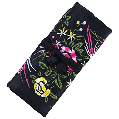 SuoSuo Jewelry Roll,Travel Jewelry Roll Bag,Black Silk Embroidery Brocade Jewelry Organizer Case with Tie Close (Embroidery Case)