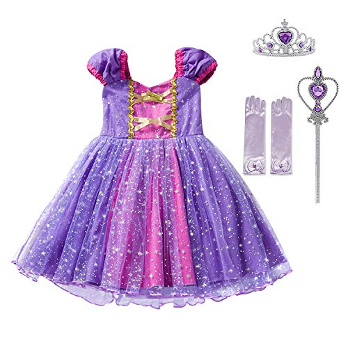 Mermaid Fancy Dress Costume (Little Girls Princess Cinderella Rapunzel Dress Elegant Mermaid Party Fancy Costume for Toddler Girl Size (110) 3-4 Years)